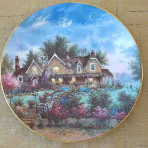 Bear Cottage plate, signed by Dennis Patrick Lewan